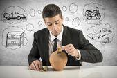 Businessman save money — Stock Photo