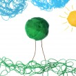 Green field with wall ball — Stock Photo