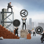 Teamwork of businesspeople — Stock Photo