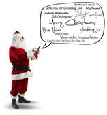 Santa Claus with Merry Christmas message — Stock Photo