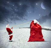 Heavy bag of gifts — Stock Photo