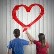 Couple drawing a heart — Stock Photo #34120963