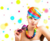 Colorfull beauty fashion portrait — Stock Photo
