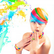 Stock Photo: Colorfull beauty fashion portrait