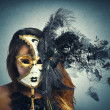 Stock Photo: Beautiful womin carnival mask