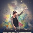 Stock Photo: DJ playing music