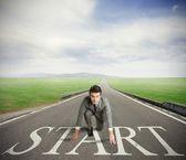 Businessman ready to start — Stock Photo