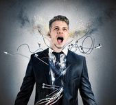 Businessman robot explosion — Stock Photo