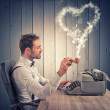 A man writing a love letter for valentine day — Stock Photo #49622845