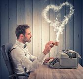 A man writing a love letter for valentine day — Stock Photo