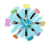 Concept of global social network with businesspersons — Stock Photo