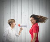 Child yells at her mother — Stock Photo