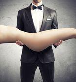Man adores the body of a sexy girl — Stock Photo
