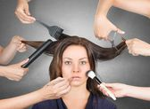 Model ready for make-up — Stock Photo