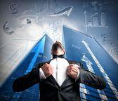 Successful super hero businessman — Stock Photo