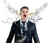 Businessman robot explosion — Stock Photo
