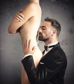 Adoration of a sexy girl — Stock Photo