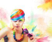 Colorful beauty fashion portrait — Stock Photo