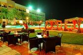 Recreation area of the luxury hotel in night illumination, Fujai — Stock Photo