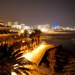 Night illumination of luxury hotel during sunset and Playa de la — Stock Photo