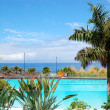 Swimming pool and beach at luxury hotel, Tenerife island, Spain - Lizenzfreies Foto