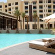 Stock Photo: Swimming pool at the luxury hotel, Saadiyat island, Abu Dhabi, U
