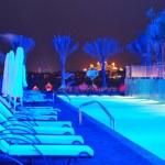 Night illumination of the modern luxury hotel on Palm Jumeirah m — Stock Photo