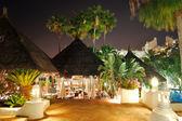 Illuminated outdoor restaurant at luxury hotel, Tenerife island, — Stock Photo