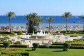 The fountain near beach at the luxury hotel, Sharm el Sheikh, Eg — Stock Photo