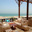 Sea view terrace at luxury hotel, Ras Al Khaimah, UAE — Stock Photo