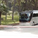 KASSANDRA PENINSULA, GREECE - APRIL 28: The modern bus for touri — Stock Photo #23686535