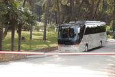 KASSANDRA PENINSULA, GREECE - APRIL 28: The modern bus for touri — Stock Photo