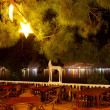 Night view on the town from restaurant of luxury hotel, Fethiye, - Stock Photo