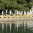 Beach on Mediterranean turkish resort, Fethiye, Turkey — Vídeo Stock