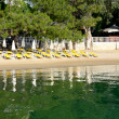 Beach on Mediterranean turkish resort, Fethiye, Turkey — Stock Photo