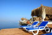 Beach on Mediterranean turkish resort, Bodrum, Turkey — Stock Photo