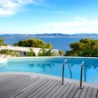 Sea view swimming pool in the luxury hotel, Peloponnes, Greece — Stock Photo #26838441