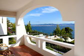 Sea view from apartment in the luxury hotel, Peloponnes, Greece — Stock Photo