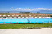 Swimming pool at modern luxury hotel, Peloponnes, Greece — Stock Photo