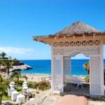 Sea view hut and beach at luxury hotel, Tenerife island, Spain — Stock Photo