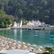 Stock Photo: Yachts at pier and beach on Mediterraneturkish resort, Fe