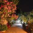 Illuminated path at luxury hotel, Marmaris, Turkey — Stock Photo