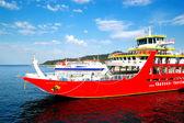 KERAMOTI, GREECE - APRIL 28: The Thassos ferry going to Thassos — Stock Photo