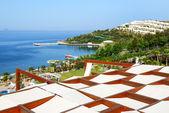 Plaża w luksusowy hotel, bodrum, turcja — Zdjęcie stockowe