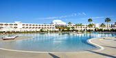 The panorama of swimming pool at luxury hotel, Sharm el Sheikh, — Stock Photo