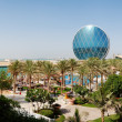 The panorama of luxury hotel and circular building, Abu Dhabi, U — Stock Photo #30155483