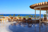 The sea view outdoor terrace at luxury hotel, Sharm el Sheikh, E — Stock Photo
