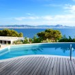 Sea view swimming pool in the luxury hotel, Peloponnes, Greece — Stock Photo