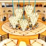 Lobby interior of the luxury hotel in night illumination, Ras Al — Stock Photo #32316233