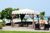 Hut at the beach at luxury hotel, Fujairah, UAE — Stock Photo